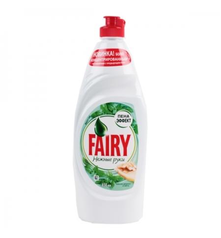 фото: Средство для мытья посуды Fairy Нежные руки 650мл, чайное дерево/ мята, гель, пена-эффект