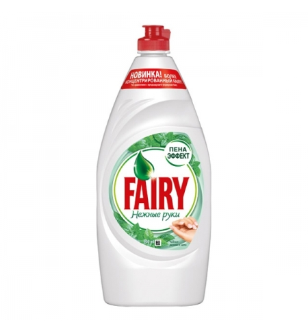 фото: Средство для мытья посуды Fairy Нежные руки 900мл, чайное дерево/ мята, гель, пена-эффект
