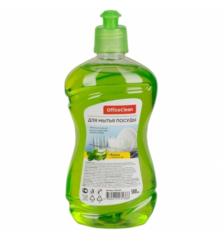 фото: Средство для мытья посуды Officeclean 500мл, алоэ и зеленый чай