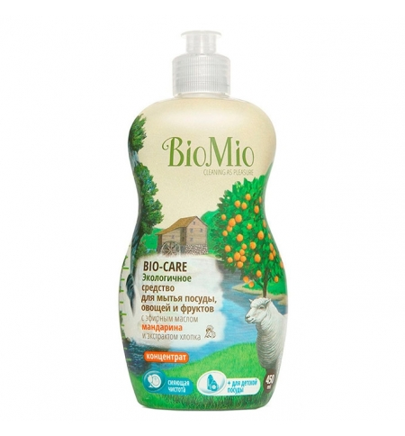 фото: Средство для посуды и детских принадлежностей Bio Mio Эко 450мл, эфирное масло мандарина/ экстракт х