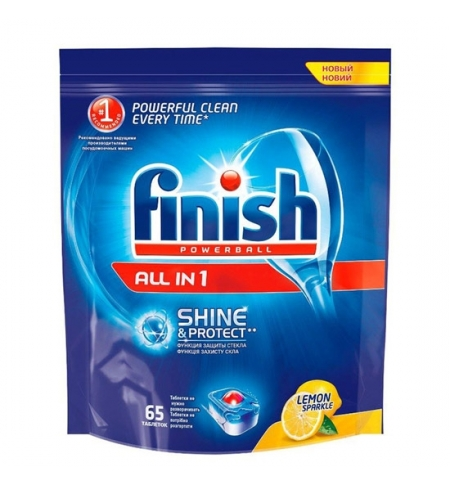 фото: Таблетки для ПММ Finish All in One 65шт, лимон
