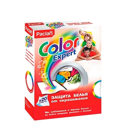 фото: Салфетки для белья Paclan Color Expert для защиты от окрашивания, 20шт