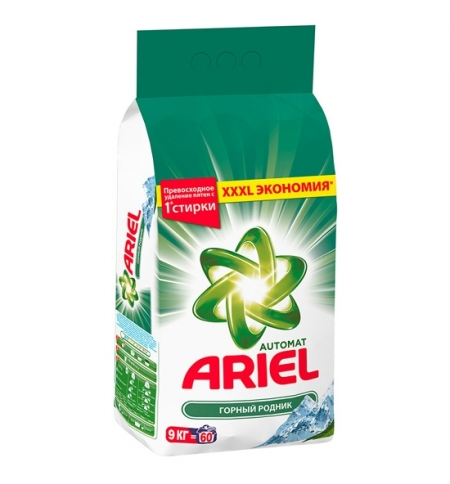 фото: Стиральный порошок Ariel 9кг, горный родник, автомат