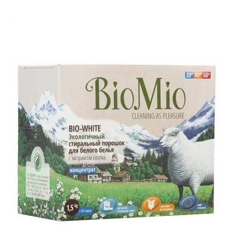 фото: Стиральный порошок Bio Mio Эко 1.5кг, экстракт хлопка, для белого белья, без запаха, концентрат