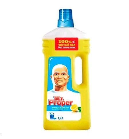 фото: Средство для мытья пола и стен Mr Proper 1.5л, лимон, жидкость