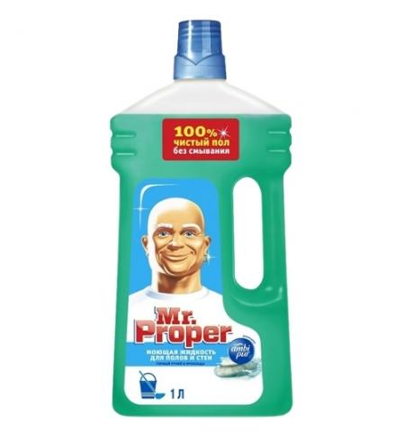 фото: Средство для мытья пола и стен Mr Proper 1л, горный ручей, жидкость