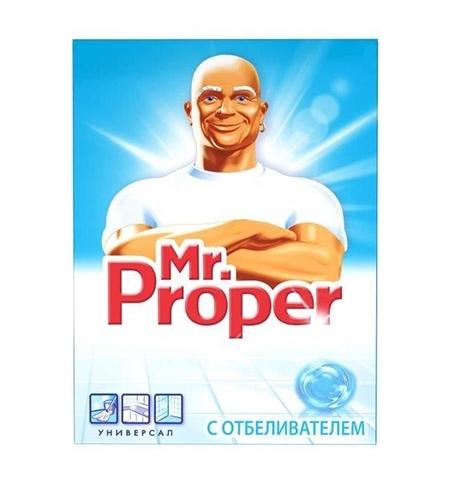 фото: Средство для мытья пола и стен Mr Proper 400г, с отбеливателем, порошок