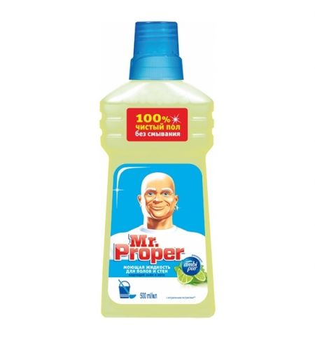 фото: Средство для мытья пола и стен Mr Proper 500мл, лайм/ мята, жидкость