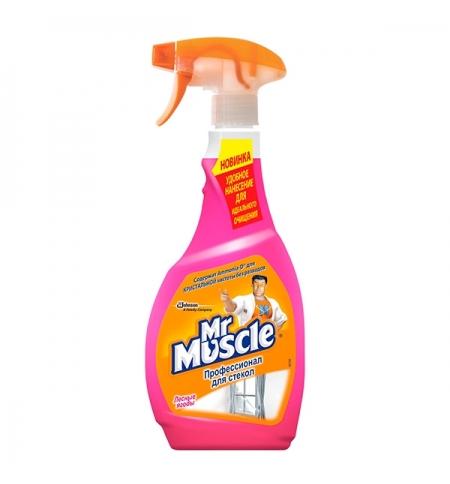 фото: Чистящее средство для стекол Мистер Мускул Профессионал 500мл, с нашатырным спиртом, спрей, розовый