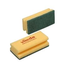 Губка Vileda Professional Виледа 7х15см, желтая, зеленый абразив, 101397
