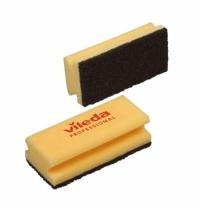 Губка Vileda Professional Виледа 7х15см, желтая, черный абразив, 102565