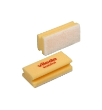 Губка Vileda Professional Виледа 7х15см, мягкая, желтая, белый абразив, 102564