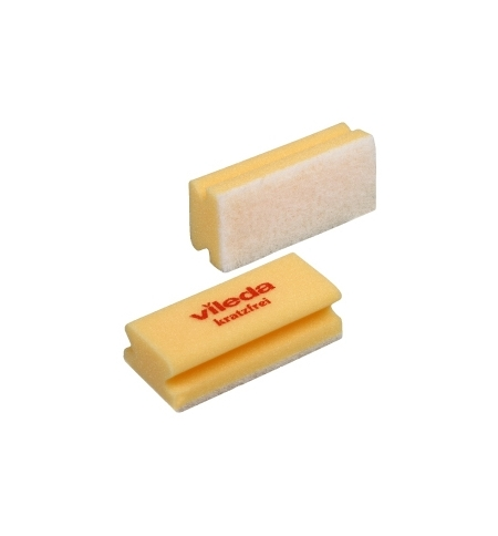 фото: Губка Vileda Professional Виледа 7х15см, мягкая, желтая, белый абразив, 102564
