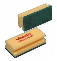 Губка Vileda Professional Виледа 9.5x7см, желтая, зеленый абразив, 125604