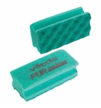 Губка Vileda Professional ПурАктив 6.3х14см, зеленая, зеленый абразив, 123115