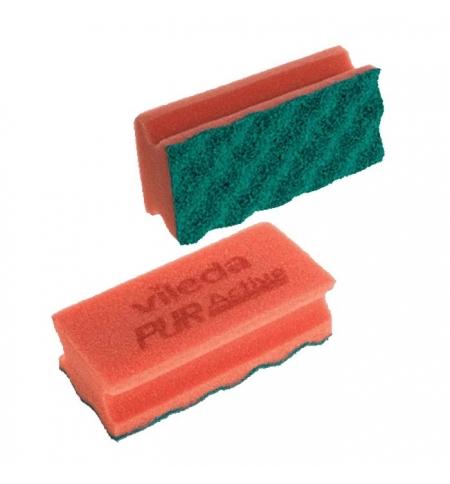 фото: Губка Vileda Professional ПурАктив 6.3х14см, красная, зеленый абразив, 123116