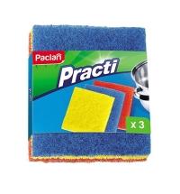 фото: Губка для мытья посуды Paclan Practi в наборе разной жесткости абразивные, 13х15см, ассорти, 3шт/уп