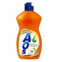Средство для мытья посуды Aos 450мл, ромашка и витамин е, бальзам